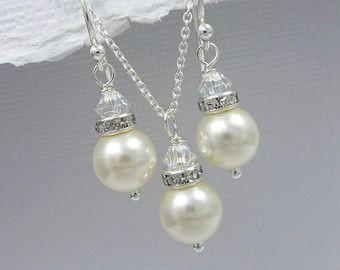 Sistema de la joyería de Swarovski marfil perla de la boda, regalo de Dama de Honor, Dama de honor collar y pendiente conjunto boda joyería, joyería nupcial conjunto