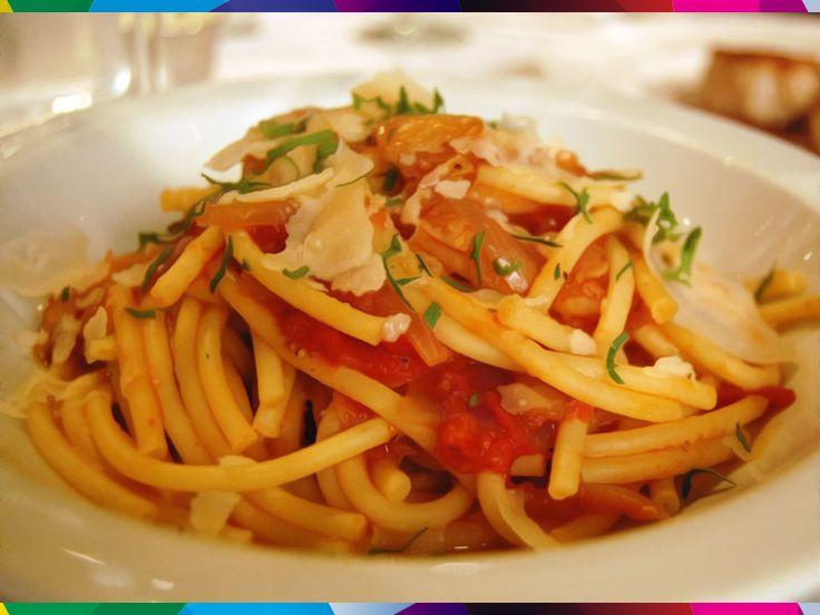 PASTA ALLA AMATRICIANA - AMATRICE (RT).  #Rome #Lazio #Italy #pasta #spaghetti #food #olivoil #pecorino #guanciale #tomatoes #onion #garlic