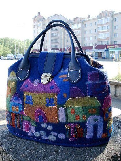 """Женские сумки ручной работы. Ярмарка Мастеров - ручная работа. Купить Саквояж """"Город"""". Handmade. Тёмно-синий, большая сумка"""