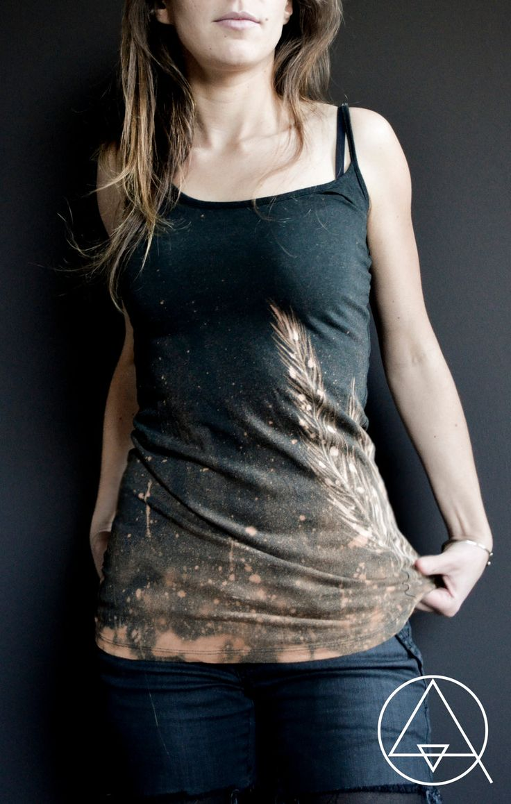 Beautiful DIY tank top, made with bleach and bleach pens!