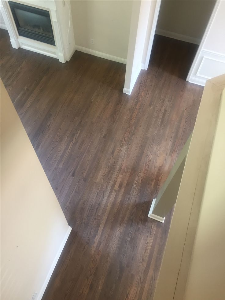Freshly stained hardwoods! Love the color! We chose a 50