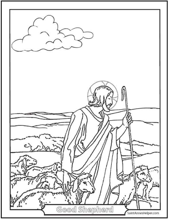 Jesus Good Shepherd Coloring Page