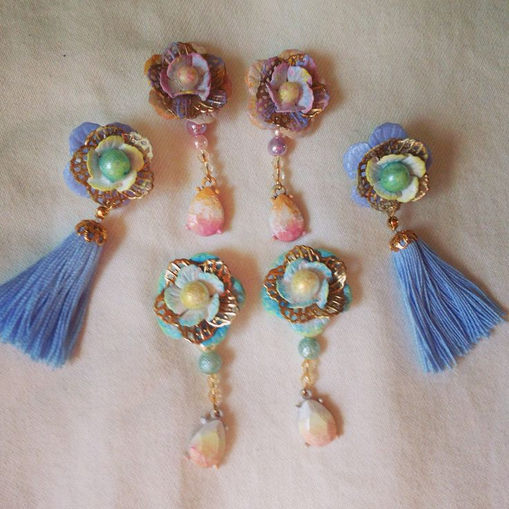ピアス♥️納品店舗未定(o^^o) #earrings #Sweetsorrow #flower #smorky pastel