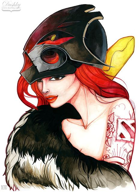 illustration by #dushky | #fashion #illustration #watercolor #girl #game #gaming #videogames #character #dota2 #juggernaut #mask #red #ginger #tattoos #look #lips #corphack