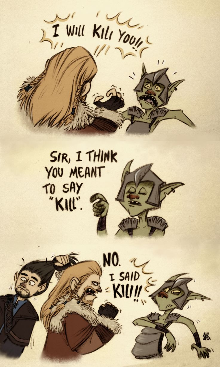 """""""Meanwhile in the Misty Mountains. I'm trying to figure out what's funnier about this picture: the fact that Fili is using his brother as a weapon, or the fact that the goblin is being posh and polite""""<--Well, they did call their king posh names..."""