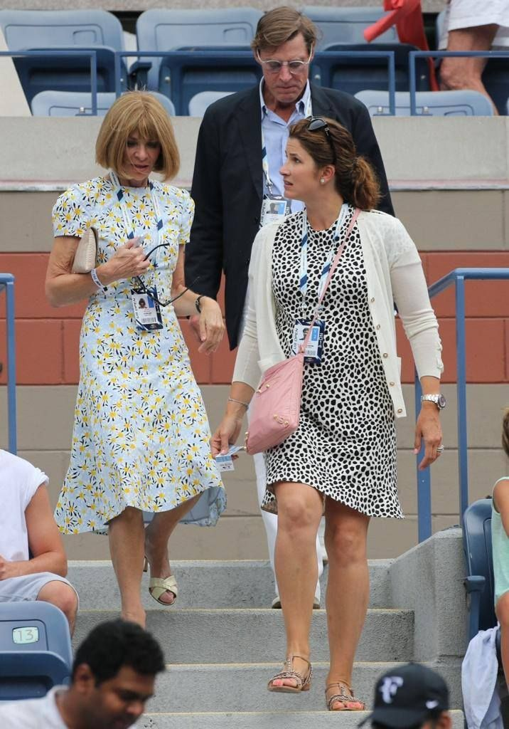 Mirka Federer and family friend Anna Wintour