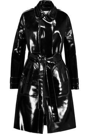 CARVEN WOMAN BELTED GLOSSED FAUX LEATHER TRENCH COAT BLACK. #carven #cloth #