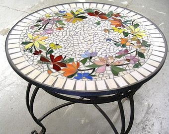 MOSAIC TABLE floral pattern CUSTOM stained glass inlaid iron furniture hand-made colorful table top
