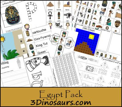 Free Egypt Pack for ages 2 to 8 lost of different types of learning activities from 3Dinosaurs.com