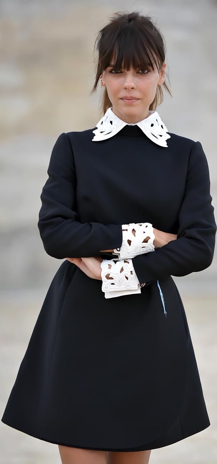 Collar and cuffs.