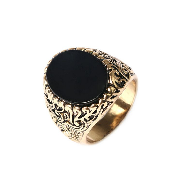 2015 New Arrival Black Mens Ring Vintage Jewelry Fashion Ancient Gold Plated  Alloy Black Stone Ring Wholesale