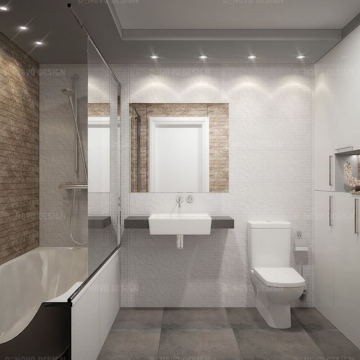 White beige master bathroom with flat panel cabinets  Materials  white   beige wall ceramic tile and grey floor tile. 12 best Denovo Design Toronto  Bathroom Design images on Pinterest