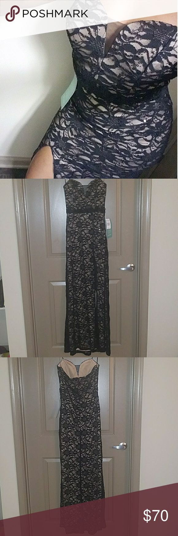 """Black Lace and Nude Dress, NWT Sz 7 Gorgeous gown by B. Smart Juniors size 7, can fit women's size 4 or 6 Black with nude lining  Strapless with rubber inner for no slip  Lace with sequins throughout dress, corset top with sheer lining on chest & beautifully embroidered waist. Thigh high split Approx. measurements - bust: 14"""", waist - 12"""", length: 52"""", split - 27.5"""" high Brand new with tags This dress is HOT!!! B. Smart Dresses Strapless"""