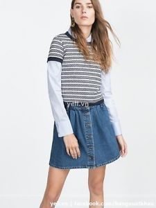 Zara Skirt Button Down Denim | eBay