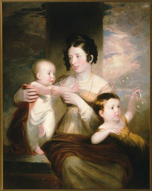 Samuel F. B. Morse (American, 1791–1872) | Portrait of Mrs. Morse and Two Children | 1824 | Oil on canvas | 43 1/4 x 34 inches | Gift of Sandra Morse Hamilton and Patricia Morse Sawyer in memory of Bleecker, Patricia, and Bleecker Morse, Jr., and through prior gift of Margaret and John L. Hoffman | 2004.58 | The artist paints a portrait of his wife and children. Motherhood according to Morse is elegant, tender and nothing short of perfect: