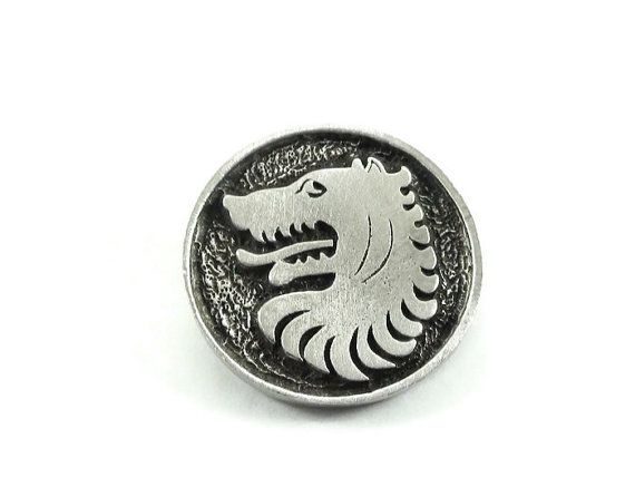 Wolf Metal Buttons 24mm Antique Silver by KBJewelrySupplies