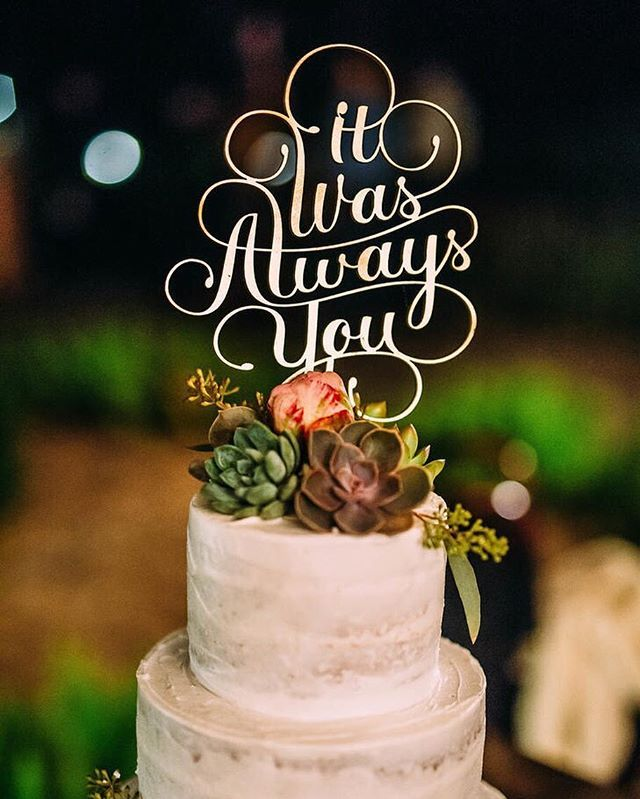 This cake topper says it all.  #theknot : @cindyleephotography | Florals: @petalsfromheaven | Venue: Thalatta Estate
