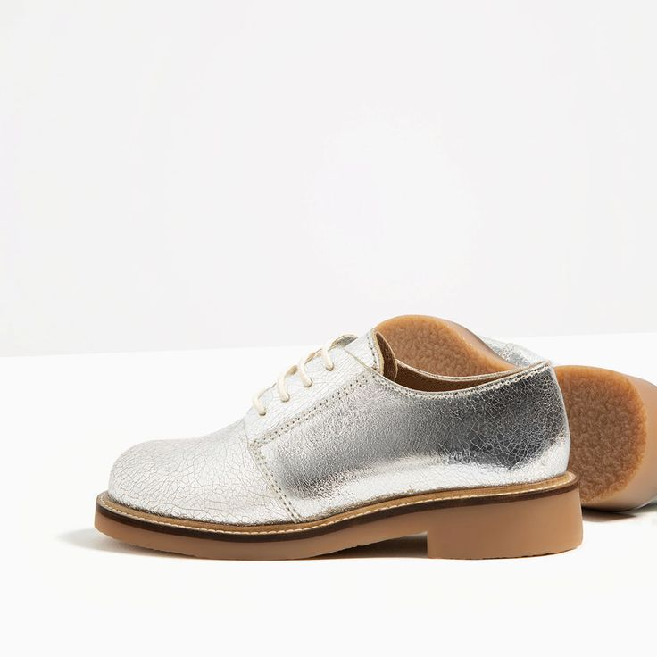 Image 2 of SILVER LEATHER BLUCHERS from Zara