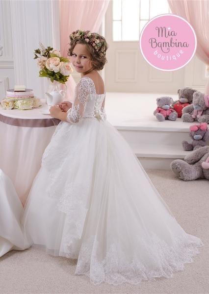Adorable flower girl dress for junior bridesmaid dress. This little girls dress has full satin, elegantly draped floor length skirt & a crochet lace bodice top