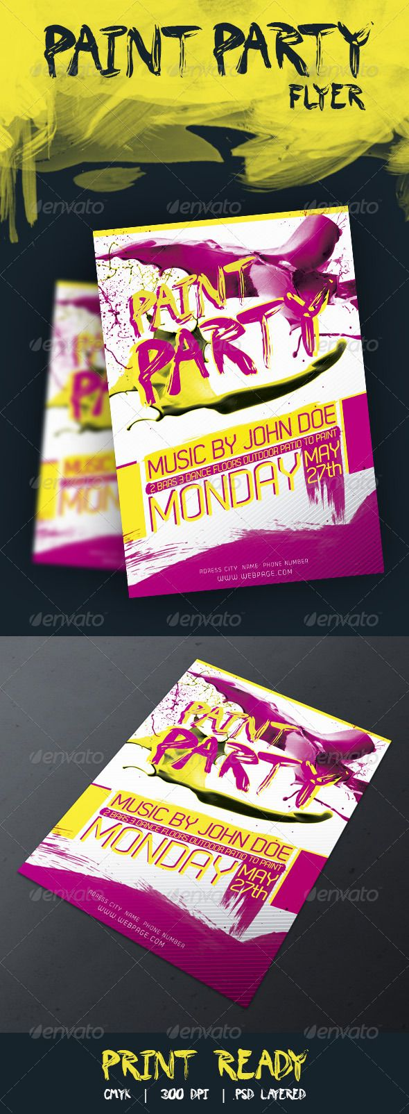 Poster design template free - Paint Party Flyer Psd Templatesflyer Templatedesign