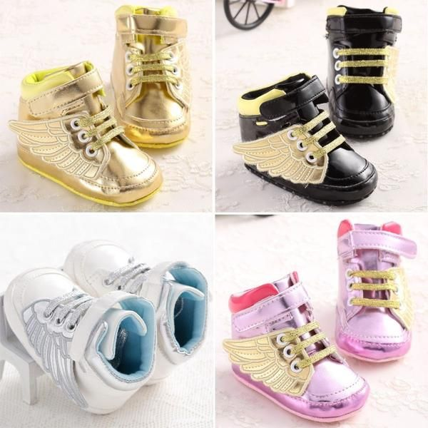 Soft Non-slip PU Newborn Baby Gold Pony Wing Toddler Boots Boy Girl Angel Wings Booties 0-2T - beautifysweden