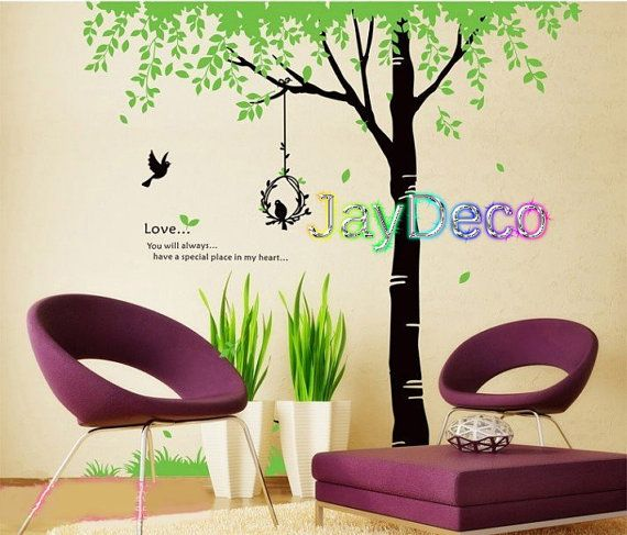 large family tree bird home decoration removable wall decal bedroom bathroom kitchen decor mirror wall sticker vinyl wall paper
