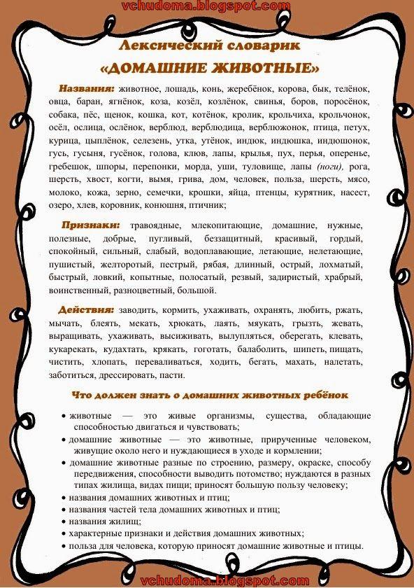 """Учу дома: Лексический словарик на тему """"Домашние животные"""""""
