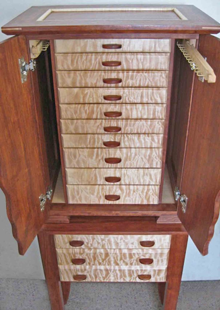 Necklace Holder Beautiful Handmade Armoire Jewelry Box of Exotic Woods