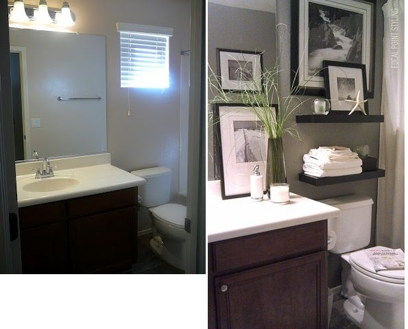 Bathroom Before and After: Covered an awkward window with a picture.         http://nyclq-focalpoint.blogspot.com/2012/03/rental-decor-small-bath-space-awkward.html