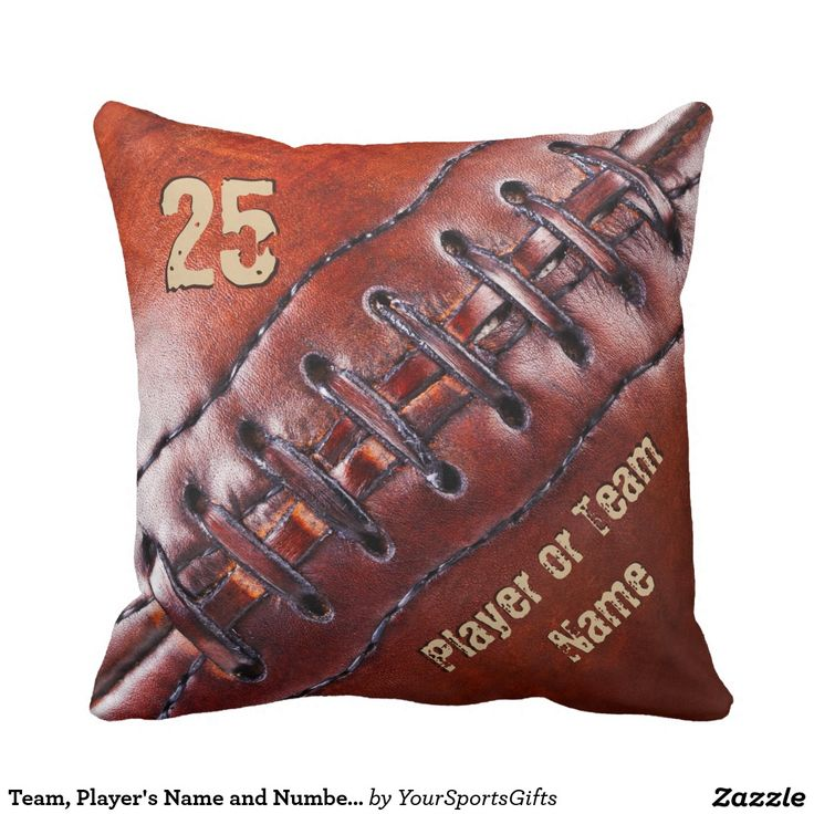 Football Throw Pillows with the Team Name, Player's Name and Number or YOUR TEXT. Click: http://www.zazzle.com/pd/spp/pt-dawsonsf_throwpillow?dz=a316ed26-e6a6-404d-a136-63bd3707b3b7&clone=true&pending=true&style=16x16&fabric=poly&design.areas=%5Bmojo_pillow_16x16_front%2Cmojo_pillow_16x16_back%5D&view=113829903915989082&CMPN=shareicon&lang=en&social=true&rf=238012603407381242 Awesome Football Team Gift Ideas for Players or football coach gifts. Call Rod and Linda for HELP: 239-949-9090
