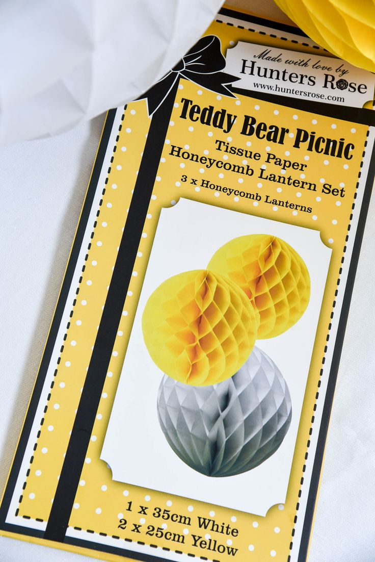 Yellow and white honeycomb paper lanterns by Hunters Rose from our Teddy Bear Picnic Collection