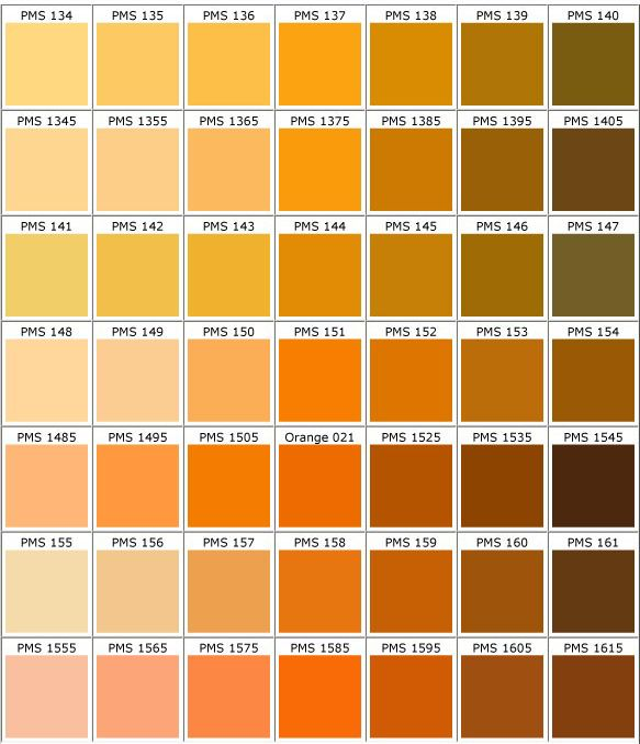 Image gallery orange pantone color names Shades of orange colour chart
