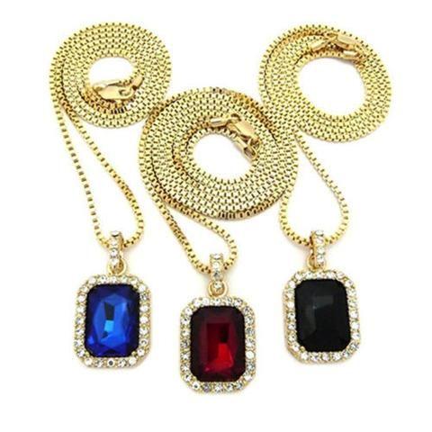 Bluelans Men Cool Hip Hop Golden Box Chain Octagon Square Pendant Charm Necklace