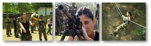 Katrina trying her hand at guns and adventure sports with the army jawans