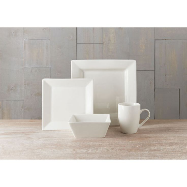 Square Dinner Set 16pc. Our quality white stoneware dinner plates are perfect for all occasions. Unique square design - browse B&M tableware