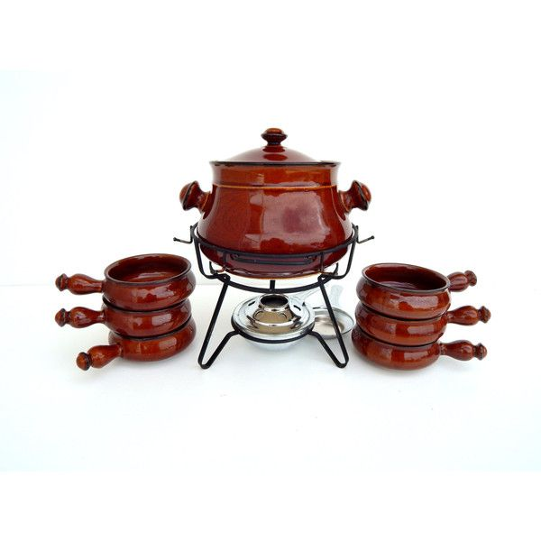 Vintage Royal Sealy Japan Oven Proof Stoneware Set Crock Pot and 6... (47 CAD) ❤ liked on Polyvore featuring home, kitchen & dining, food storage containers, glazed stoneware, brown stoneware crocks, stoneware crock, brown stoneware and oven safe stoneware