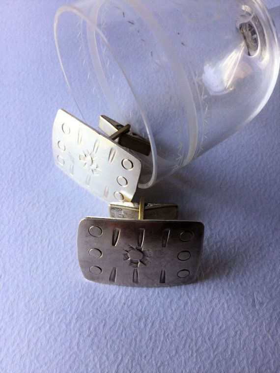 Vintage modernist sterling silver cufflinks vintage by Quieora