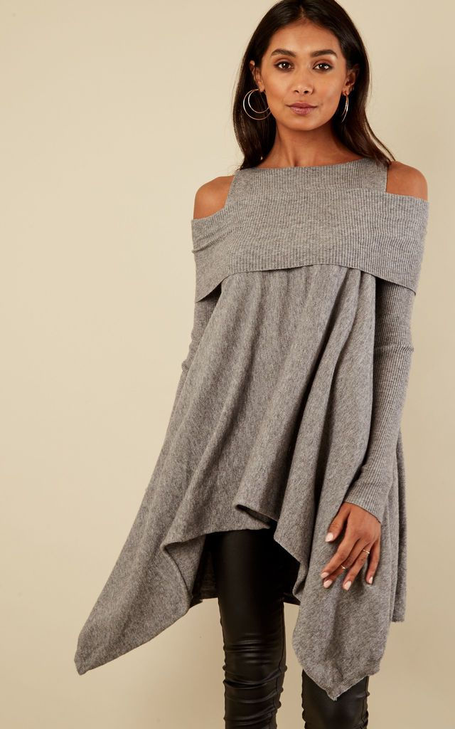 5e0d3e727b0 Grey Ribbed Cold Shoulder Waterfall Jumper By Lilah Rose in 2019 ...
