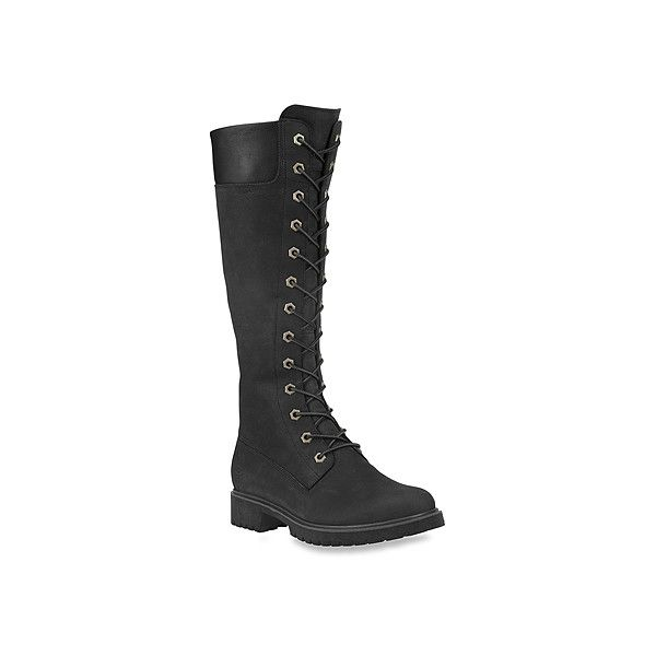 Timberland Premium 14 Side Zip Lace ($220) ❤ liked on Polyvore featuring shoes, boots, black, lace up booties, black high boots, black lace up ankle booties, tall boots and black boots