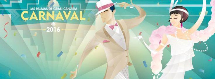 """Un cartel evocador de los bailes de """"Los locos años 20″, del tinerfeño Waldemar Lemnczyk, es la imagen elegida para el Carnaval 2016 de Las Palmas de Gran Canaria, que"""