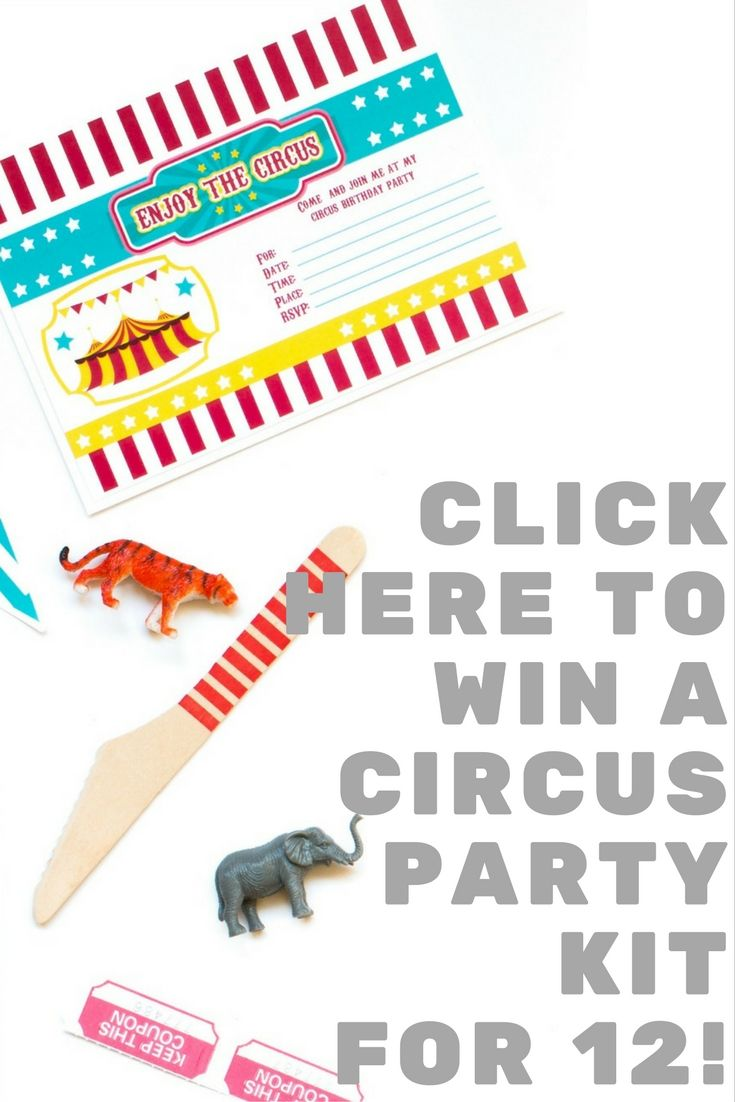 Enter to win the Circus Party Kit! This giveaway is super easy! Click here to enter!  Here's What You Win:  1 pennant Happy Birthday Banner 6 cupcake toppers & wrappers 8 blank tent cards 12 water bottle labels 1 welcome sign 12 thank you cards & invitations with envelopes 25 red striped straws 36 piece red wooden cutlery set 12 yellow polka dot cups 20 yellow chevron napkins 12 red dessert plates 2 yellow tissue paper fans 2 teal 8″ pom poms + MORE!!!