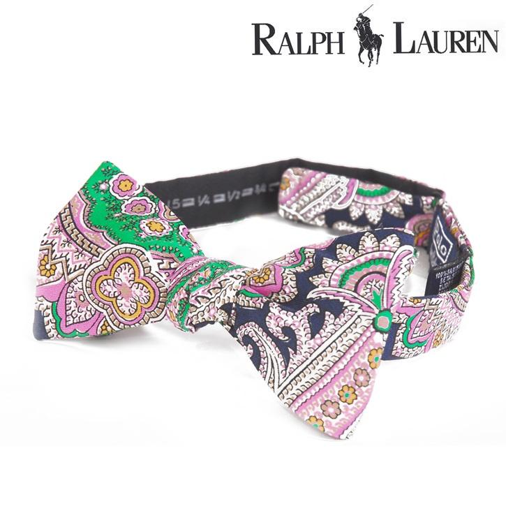 Polo Ralph Lauren(ポロラルフローレン) ボウタイ ペイズリー調 ピンク×ネイビー シルク og-rl-076