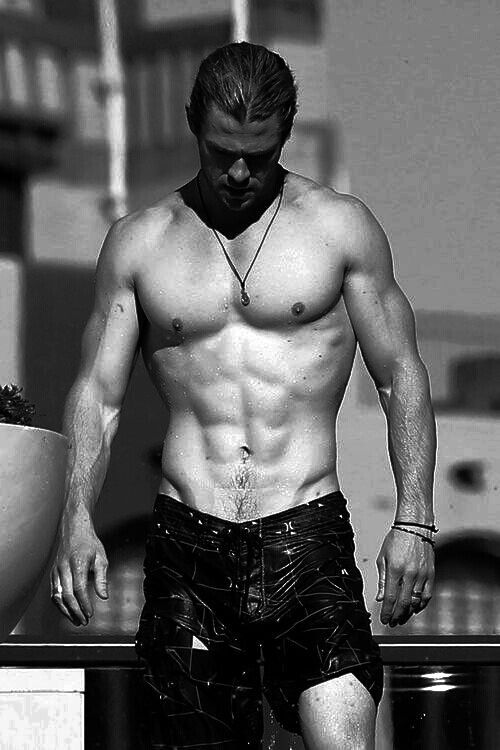 Uhm, why doesn't he have clothing on? How is that fair? Or legal?! - Chris Hemsworth
