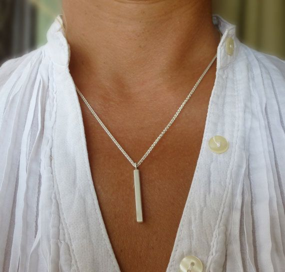 Sterling silver bar necklace minimal jewelry by SoCoolCharms