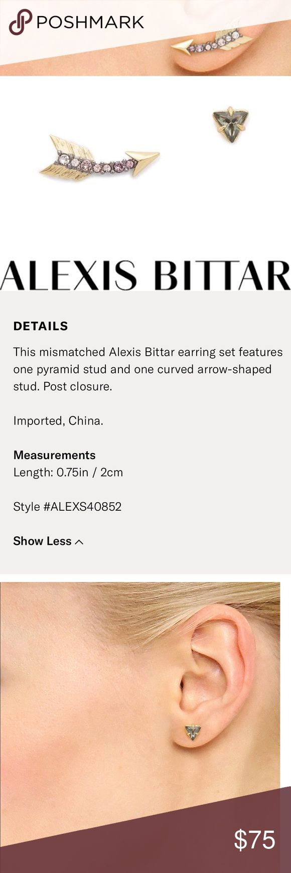 Alexis Bittar missmatch ombre stud earrings arrow Super cute miss matched set. Like new- worn once. Still for sale on Shopbop. See above for more product details. ✨ Alexis Bittar Jewelry Earrings