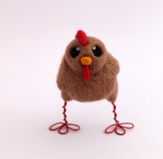 Chicken Needle Felted Beige Chicken Farmyard Bird