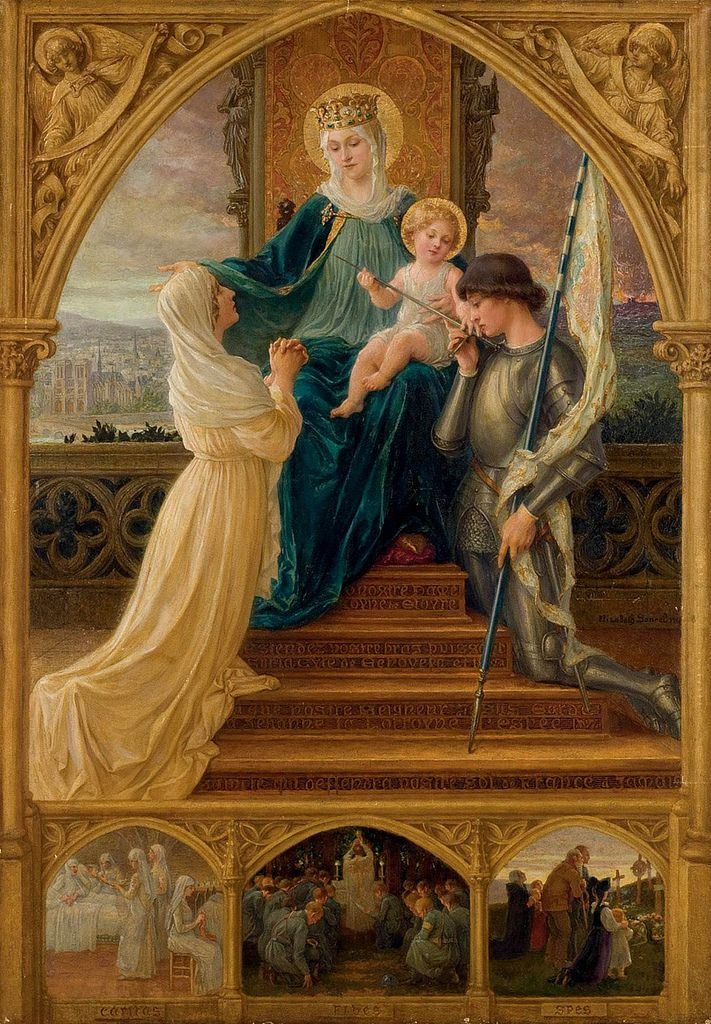 Vierge a L'enfant, Mary and Jesus between St. Genevieve and Joan of D'Arc - Elizabeth Sonrel