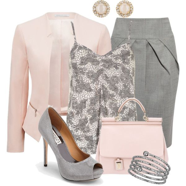 Pink & Grey, created by justbeccuz on Polyvore