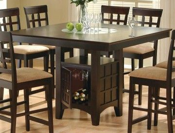 Espresso Counter Height Storage Dining Table W Glass Center Chair Set 100438
