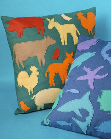 Would like to make one of these for each kid. Dogs for Kate, butterflies for Kate and something for Parker...: Silhouette Pillows, Animal Silhouette, Linens Pillows, Felt Boards, Martha Stewart, Animal Pillows, Crafts, Kids Rooms, Felt Animal